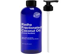 Radha Beauty Fractionated Coconut Oil 16 Oz - 100% Pure & Natural Carrier and Base Oil for Aromatherapy, hair and Skin - free Pump , 16 fl oz