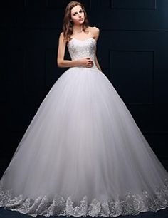 Ball+Gown+Wedding+Dress+Floor-length+Sweetheart+Tulle+with+Appliques+/+Beading+–+USD+$+345.00