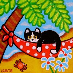 Tropical Tuxedo CAT on HAMMOCK by the Beach Art PRINT from Original Painting by Jill. $8.00, via Etsy.