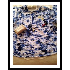 """BLUE COLLAGE TOP Exertek 60% cotton, 40% polyester pullover with top front zipper 13"""" long, front pouch pocket & rounded hem size 3 XL. Beautiful royal blues in an abstract design! Underarm to underarm 26"""" hips 29"""" and length 30"""" Very soft & comfy! Tops"""