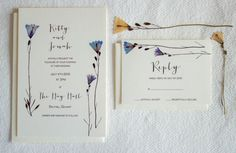 Wedding invitation and optional RSVP card illustrating hand pressed wild, bluebell flowers from the West of Ireland. Cards are printed in highest