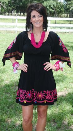 Midnight Rodeo VAVA Dress with Colorful Embroidery  $149.95  Size: Small, Medium, Large  http://www.giddyupglamouronline.com/catalog.php?item=5332
