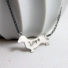 Sterling Silver Dachshund Dog Love Necklace