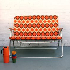 Vintage two-seater folding deck chair.