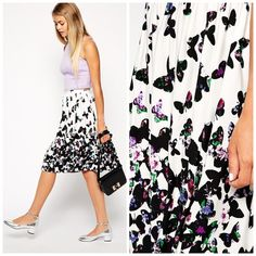 """Midi Skirt in Butterfly Print Worn a few times. Does have marks on the waist line from hanging. Butterfly print with floral design on the butterflies. 94% viscose and 6% elastane. Not stretched the waist is approx 27"""" and stretched is approx 32"""". Length is approx 24"""". ❌No trades and no PayPal.❌ ASOS Skirts Midi"""