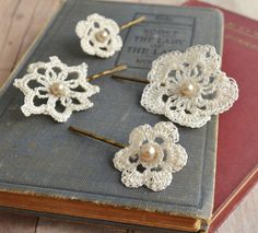 Lace hair accessories, wedding bobby pins, bridal hair pins, crochet and pearls - attic treasures. gardens of whimsy via Etsy.