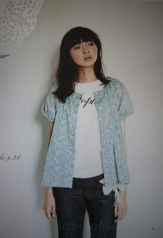 Pattern D: Button-up blouse in Liberty Print . From Japanese sewing book: Stylish Dress Book: Wear with Freedom. Now available in English too!
