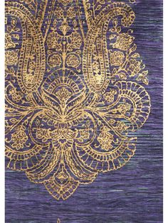 Rococo Purple and Gold Damask Wallpaper | AmericanBlinds.com