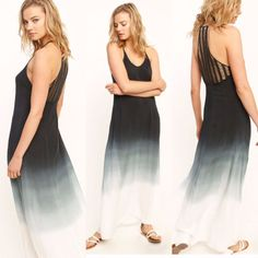 Ombre Black Tie Die Maxi with Crochet Lace Back #TheHanger #Maxi