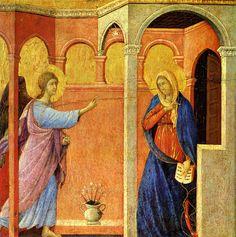 DUCCIO di Buoninsegna Annunciation 1308-11 Tempera on wood, 43 x 44 cm National Gallery, London