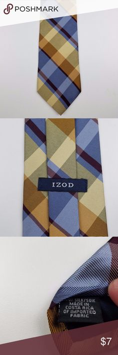 New IZOD Men's Silk Neck Tie Classic Plaid Blue New IZOD Men's Silk Neck Tie Classic Plaid Blue Yellow 4W 58L - T7  New, never worn. No tags. In protective sleeve. Izod Accessories Ties