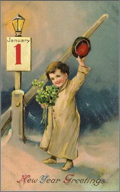New Year Greetings. Vintage Happy New Year, Happy New Year Cards, New Year Wishes, New Year Greetings, Antique Christmas, Vintage Christmas Cards, Christmas Images, Vintage Holiday, Christmas Art