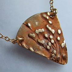 Gold  Bronze Necklace Handmade Pendant  Prairie by OxArtJewelry, $45.00