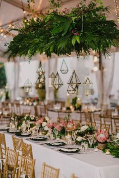 garden wedding This Miami wedding glows UP with reception lantern glory! Modern fashion, tropical palm fronds and industrial color blocked decor elements work together to make this a garden wedding with a twist. And basically a contempo paradise! Wedding Reception Ideas, Tropical Wedding Reception, Miami Wedding, Mod Wedding, Reception Decorations, Wedding Themes, Wedding Table, Wedding Events, Wedding Ceremony