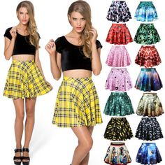 New Womens Girls Stretch Waist  Skater Flared Pleated Mini Skirt Dress Ladies