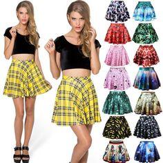 New Womens Girls Stretch Waist  Skater Flared Pleated Mini Skirt Dress Ladies
