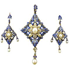 C. Giuliano Enamel Pearl Diamond Gold Demi-Parure. A very rare yellow gold enameled demi parure set with old-cut diamond and natural pearls. Composed of a pendant and a pair of earrings. C.Giuliano, 1870. In original fitted box of Hunt and Roskell.