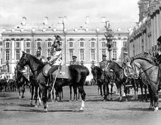Tsar Nicholas ll of Russia attending a review at the Catherine Palace at Tsarskoe Selo in 1911.He is wearing the uniform of His Majesty's guard regiment.A♥W
