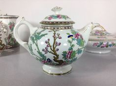 Coalport Indian Tree Oriental Lidded Coffee Tea Pot Floral White Gilded England #Coalport