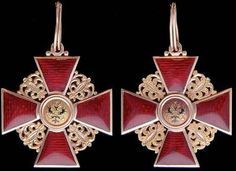 Imperial Russian Order of St Anne, instituted in 1735, Civil, 3rd Class variation awarded to non-Christians. The insignia with imperial eagle would have been awarded to a non-Christian, for whom a Christian cross was deemed inappropriate.
