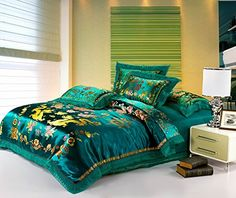 Best Jacquard Chinese Wedding Bedding Set Dragon Phoenix Double Blessing Embroidery Lace Silk Duvets Cover Set 4pcs Queen Green -- You can get additional details at the image link.-It is an affiliate link to Amazon. #Bedding