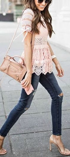 #spring #outfits Pink Lace Top + Destroyed Skinny Jeans + Nude Sandals