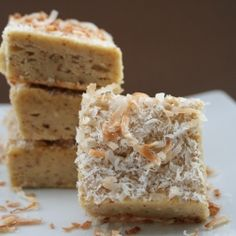 Toasted Coconut Ginger Blondies, made with coconut flour.  Low carb