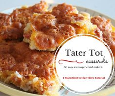 Tater Tot Casserole Video Tutorial! each your kids to cook by having them cook one night per week! With only seven ingredients per recipe, this great video tutorial series makes it easy for them to learn a new recipe each week.