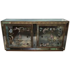 Wonderful Vintage Shabby Chic Mirrored Chinoiserie Gilt Reverse Painted Chest