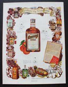 1951 Cointreau Liqueur, Anisette, Peach, Crème de Cacao vintage print ad