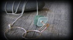 Sterling Silver Necklace / Eternity Circles / Delicate Sea Glass Necklace with a pop of Natural Color / ON SALE
