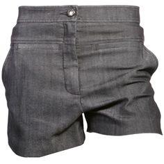 Diane Von Furstenberg Grey 'Notrina' Stretch Denim Shorts ($290) ❤ liked on Polyvore