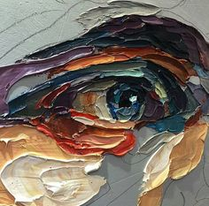 impasto thick paint visible brushstrokes eye painting