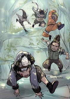 Naruto, Shikamaru, Kiba, Chouji y Neji - Sasuke Recovery Team by soniki360