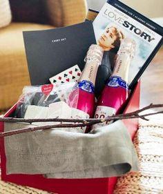 Romantic Movie Basket   DIY Valentine Gifts for Boyfriend