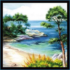 Paper Napkins for Decoupage Decopatch Craft Mediterranean Sea Paper Serviettes, Paper Napkins For Decoupage, Landscape Drawings, Fused Glass Art, Print Wallpaper, Mediterranean Sea, Beautiful Paintings, Garden Art, Collage Art