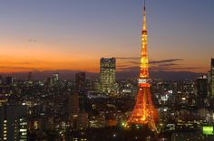 Tokyo tower as the sun sets