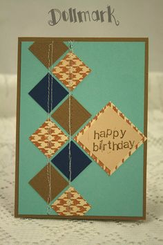 Boy's Birthday Card  Tiled Squares and Houndstooth by Dollmark, $3.00