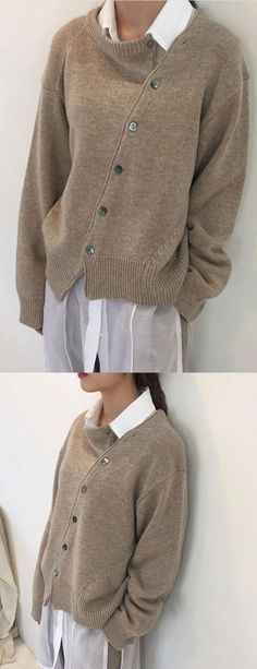 Women Sweater Fashion Irregular Knitwear Slanting Buckle Sweater Source by schattentochter Knitwear Fashion, Sweater Fashion, Womens Knitwear, Winter Fashion Casual, Autumn Winter Fashion, Casual Fall, Latest Fashion Design, Fashion Trends, Mode Inspiration