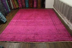 9'6 x 12'7 Beautiful authentic Persian vintage rug. Hot pink and espresso colors. Rug has some fading / abrash due to the age. Stunning design and colors. #pink #rug #overdyed #homedecor #decorator #interiordesign #nyc