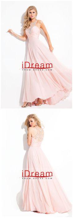A  Line  Floor  Length  Beaded  Tulle  Bodice  With  Chiffon  Skirt  Prom  Dress