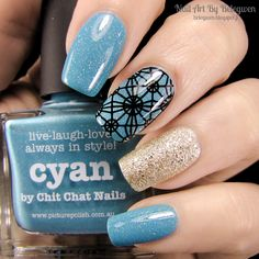 Nail Art by Belegwen: Picture Polish Cyan and Lumene Sandy Brook