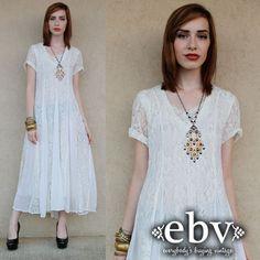 White Hippie Dress Lace Dress Vintage 90s White Lace by shopEBV, $98.00