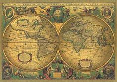 "I like this vintage world map. It carries the right amount of memories. Perhaps Puck could grab it before he ""puts a girdle round the earth"":"