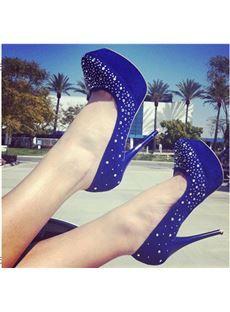 Grogeous Blue Suede Platform High Heel Shoes with Amazing Rivets Decoration