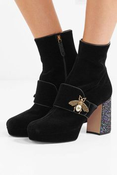 Gucci - Embellished Glittered Velvet Ankle Boots - Black