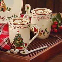 Lenox Gift of Friends Cocoa Mug Set with Spoons * For more information, visit image link.  This link participates in Amazon Service LLC Associates Program, a program designed to let participant earn advertising fees by advertising and linking to Amazon.com.