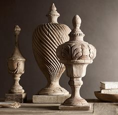 19th C. Foliate Urn Finial - Paying homage to these ornaments, our reproductions are artisan crafted of wood that's been painstakingly aged for a distressed, antiqued patina. (drool.)