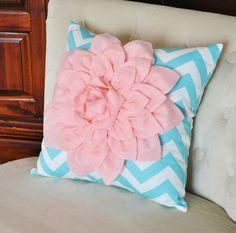 Light Pink Dahlia on Aqua and White Zigzag Pillow -Decorative Chevron Pillow-. $35.00, via Etsy.