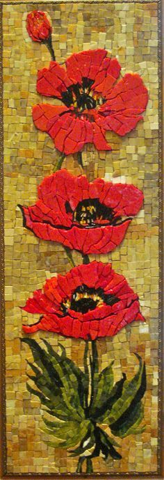 Poppies Resa McCreary Mosaics - I love poppies and these are beautifully done! (this is one of a set of two)✽≻⊰❤⊱≺✽Resa McCreary Mosaics - I love poppies and these are beautifully done! (this is one of a set of two)✽≻⊰❤⊱≺✽ Pebble Mosaic, Mosaic Wall, Mosaic Glass, Mosaic Tiles, Mosaic Mirrors, Mosaic Crafts, Mosaic Projects, Art Projects, Mosaic Designs